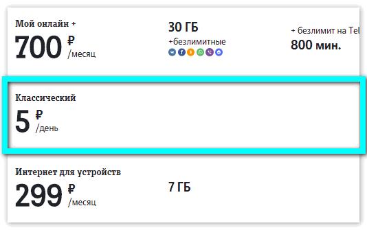 Тариф Классический Tele2