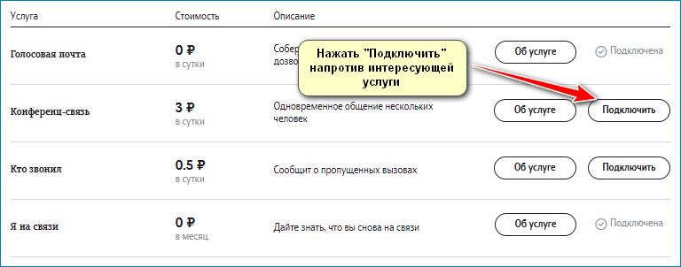 Подключение опции Теле2