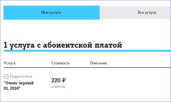 Абонентская плата за услугу Теле2