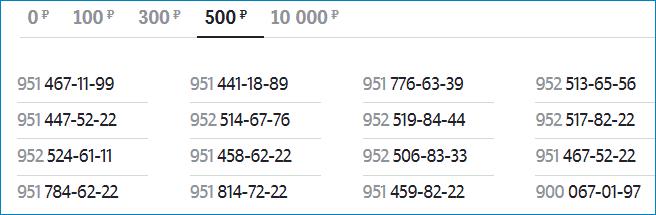 Номера по 500 рублей