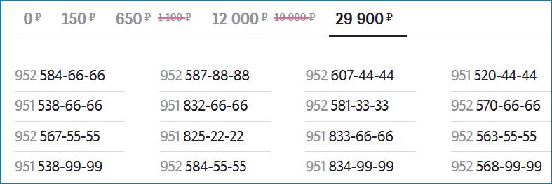 Номера за 29900 рублей