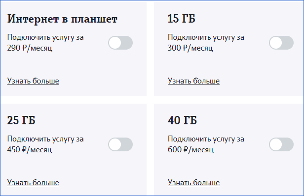 Пакеты интернет для устройств Теле2 Владимир