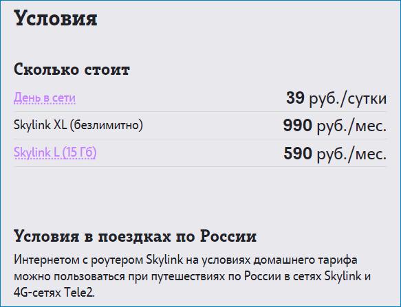 условия скайлинк теле2