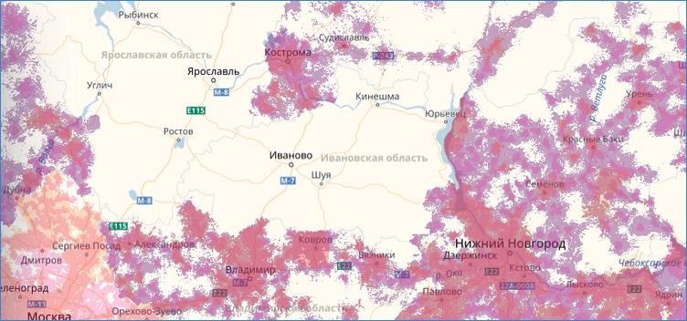 Карта покрытия Tele2 в Ивановской области