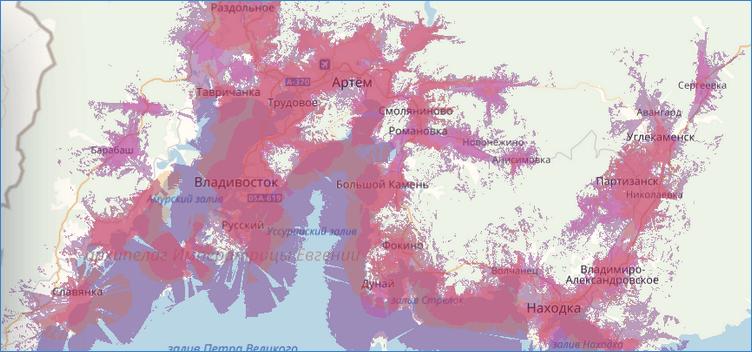 Карта покрытия Приморского края