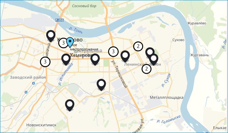 Карта офисов в Кемерово