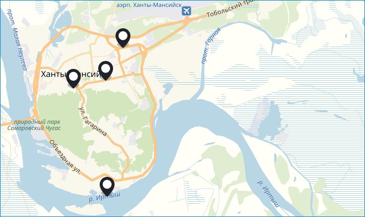 Офисы Теле2 на карте Ханты-Мансийского АО