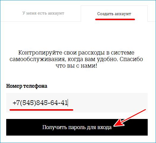 Получить пароль для входа