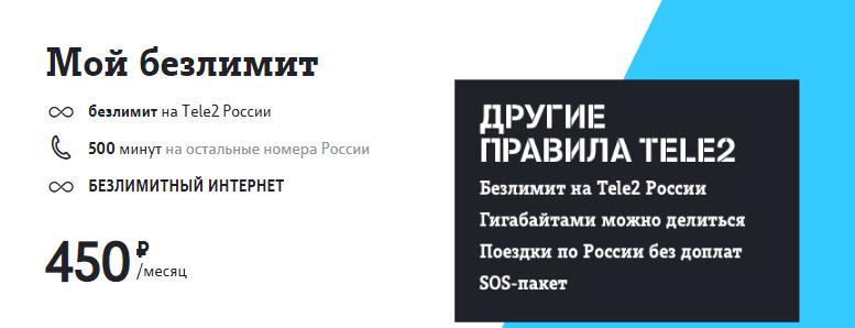 Тариф Мой безлимит от ТЕЛЕ2