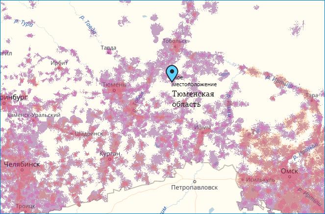 Зона покрытия ТЕЛЕ2 Тюменского региона